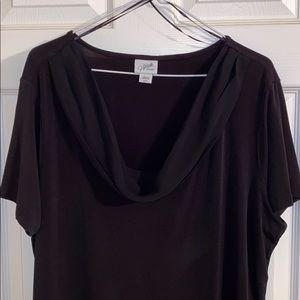 Jacqueline Smith Scoop Neck Black Blouse XL